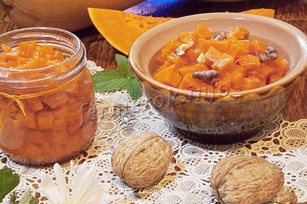 Фото варенья из тыквы с орехами