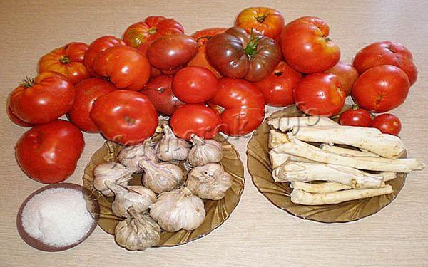 Фото томатов с хреном и чесноком