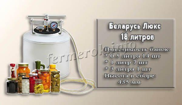 Фото и характеристики автоклава Беларусь Люкс на 18 литров