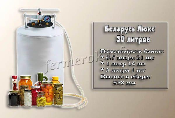 Фото и характеристики автоклава Беларусь Люкс на 30 литров