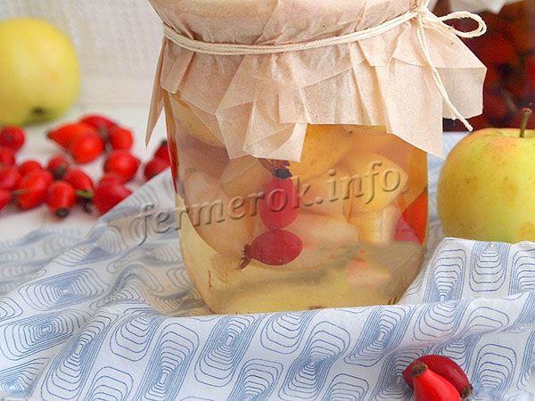 Полезный рецепт компота с яблоками и шиповником