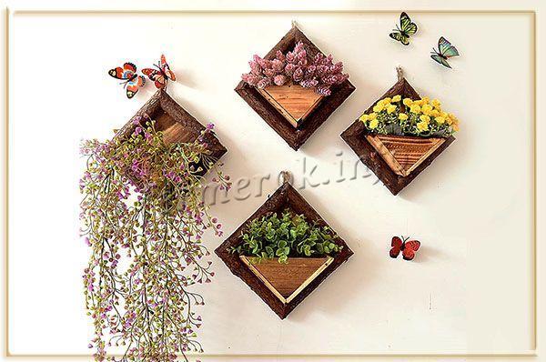 Декоративные настенные цветочные горшки из дерева