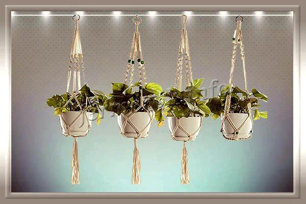 Фото подвесных пластиковых цветочных горшков с макраме