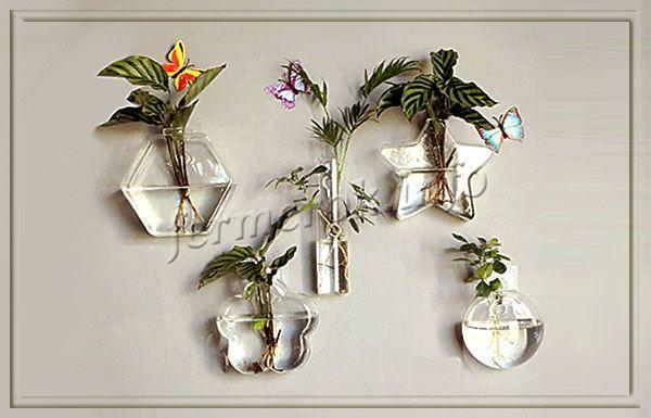 Фото стеклянных настенных горшков для цветов
