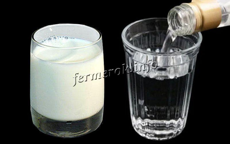 В домашних условиях берут молоко и смешивают его 1к1 с медицинским спиртом
