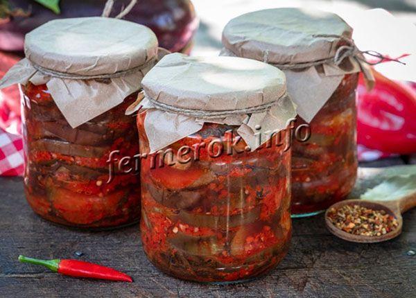 Баклажаны с томатами и чесноком на зиму