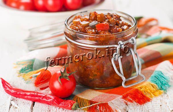 Рецепт баклажанов с помидорами и чесноком
