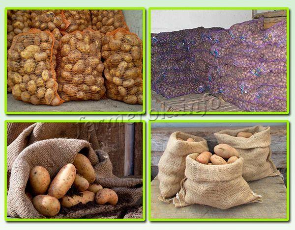 Хранение картофеля в сетках и мешках